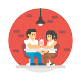 Flat design couple sharing milkshake Stock Images