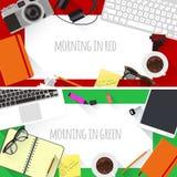 Flat design creative workplace Stock Image
