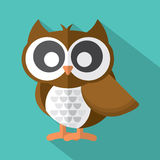 Flat Design Cute Owl Icon On Green Background. Royalty Free Stock Photos