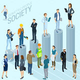 Flat design 3d isometric business infographic  vector template. Made of chart and business people various style and professions, man and woman, front and back Stock Photos