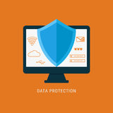 Flat design data security. Shield on computer protect sensitive data. Stock Photos