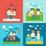 Flat design dating couple set Stock Photo