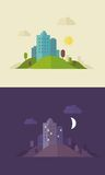 Flat design day and night sity Royalty Free Stock Image