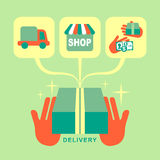 Flat design delivery concept icons set Stock Photos