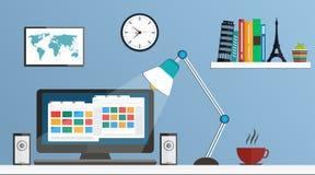 Flat design desktop, workspace. Illustration stock illustration