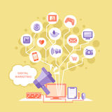 Flat design digital marketing concept Royalty Free Stock Images