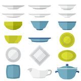 Flat design dinnerware set. Various vector color flat style plates and dishes set Stock Photo