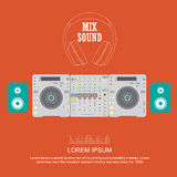 Flat design dj mixer sound turntables Royalty Free Stock Photos