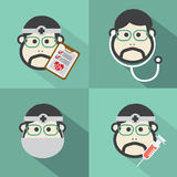 Flat Design Doctor Icon With Long Shadow Effect Stock Images
