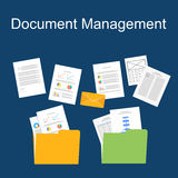 Flat design of documents management. Royalty Free Stock Images