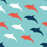 Flat Design Dolphin pattern. Flat Design Dolphin seamless pattern background Stock Images
