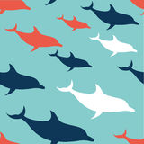 Flat Design Dolphin pattern. Flat Design Dolphin seamless pattern background Royalty Free Stock Images