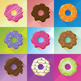 Flat design donuts set. Vector image whit long shadow. Tastes and colors: green pistachio, red strawberry, candied fruits, white and black chocolate, brown royalty free illustration
