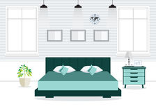 Flat Design Double Bedroom with furniture. Royalty Free Stock Photo