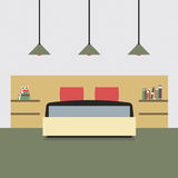 Flat Design Double  Bedroom Royalty Free Stock Photography