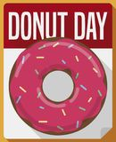 Flat Design with Doughnut over Calendar for Donut Day Celebration, Vector Illustration. Delicious donut with strawberry glaze and candy jimmies over loose-leaf stock illustration