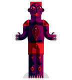 Flat design drawing of odd character, art picture made in cubism Stock Images