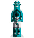 Flat design drawing of odd character, art picture made in cubism Royalty Free Stock Photos