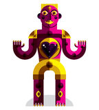 Flat design drawing of odd character, art picture made in cubism Royalty Free Stock Images
