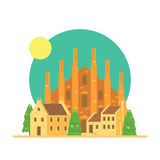 Flat design of Duomo di Milano Italy with village Royalty Free Stock Photos