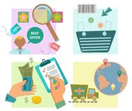 Flat design e-commerce icons Stock Photo