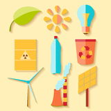 Flat design eco icons Royalty Free Stock Images