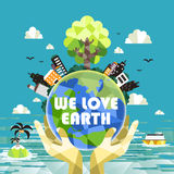 Flat design for ecology concepts graphic Stock Photos