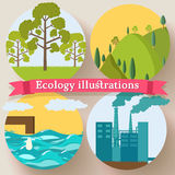 Flat design of ecology, environment, green clean Stock Images