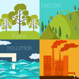 Flat design of ecology, environment, green clean Royalty Free Stock Photography
