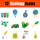 Flat design ecology icon set Royalty Free Stock Photos