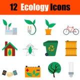 Flat design ecology icon set Stock Images