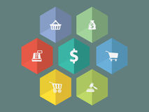 Flat design ecommerce icons Stock Photography