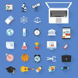 Flat design education color objects vector icon set. Flat design education color objects school and college vector icon set Royalty Free Stock Image