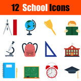 Flat design education icon set Royalty Free Stock Photography