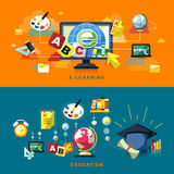 Flat design for education and online learning Royalty Free Stock Photo