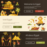 Flat design Egypt travel banners set with famous Egyptian symbols Stock Photo