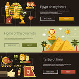 Flat design Egypt travel banners set with famous Egyptian symbols Royalty Free Stock Photo