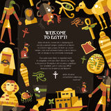 Flat design Egypt travel postcard with famous Egyptian symbols icons Stock Image