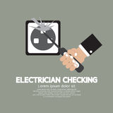 Flat Design Electrician Checking Stock Photo