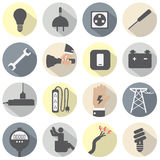 Flat Design Electricity Power Icons Set Royalty Free Stock Photography