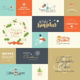 Flat design elements for Christmas and New Year greeting cards Stock Images