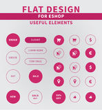 Flat design elements of eshop icons. Eshop icons for vendors. Clean Flat ui kit style for webdesign or mobile design Stock Images