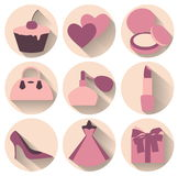 Flat design elements of feminine accessories Stock Images