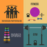 Flat design elements for gym and fitness, vector illustration. Stock Photos