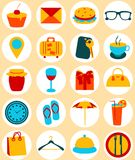 Flat design elements of travel and trip icons Royalty Free Stock Photography