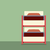 Flat Design Empty Bunk Bed Royalty Free Stock Image