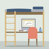 Flat Design Empty Bunk Bed With Workspace Stock Images