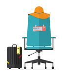 Flat design of empty office chair with fight ticket. Boss or Employee have a vacation. Vector. Illustration Stock Images