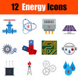 Flat design energy icon set. In ui colors. Vector illustration Royalty Free Stock Image