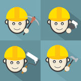 Flat Design Engineer Icon With Long Shadow Effect Stock Photography